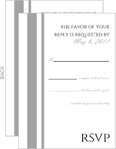 Gray and White Striped Response Card