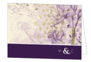 Elegant Purple Floral Thank You Card