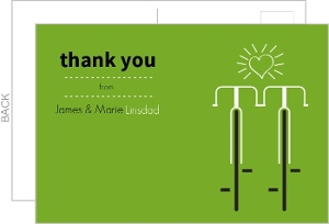 Modern Green Bicycles Thank You Card