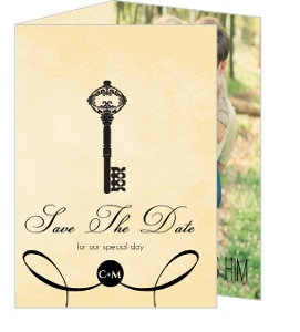 Black Rustic Antique Key Save The Date