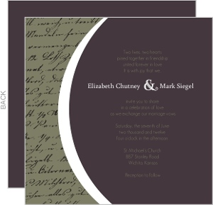 Plum and Sage Script Wedding Invitation