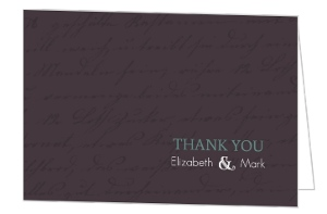 Plum and Sage Script Thank You Card