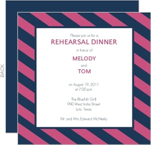 Pink and Navy Striped Rehearsal Dinner