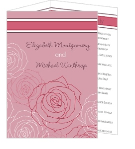 Pink and White Rose Blossoms Wedding Program