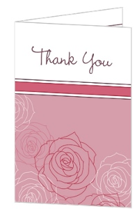 Pink and White Rose Blossoms Thank You Card