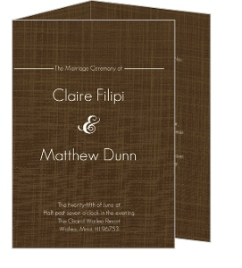 Elegant Textured Brown Wedding Program
