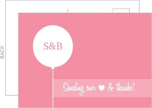 Pink and White Contemporary Thank You Card