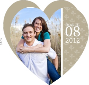 Simple Taupe and Delicate White Flowers Save The Date