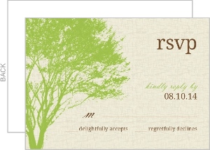 Cream and Green Rustic Tree Response Card