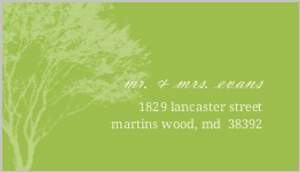 Cream and Green Rustic Tree Address Label