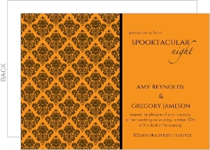 Orange Damask Halloween Wedding Invitation