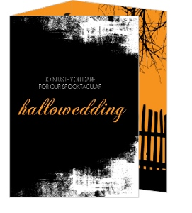 Wicked Black and Orange Halloween Wedding Invite