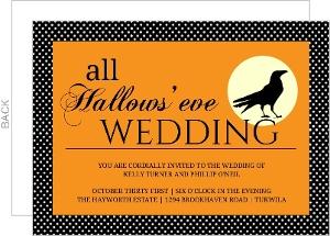 All Hallows Eve Crow Halloween Wedding Invitation