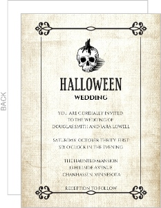 Halloween Skull Linen Texture Wedding Invitation