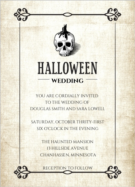 Halloween Skull Linen Texture Wedding Invitation