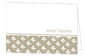 Simple Taupe and Delicate White Flowers Thank You Card