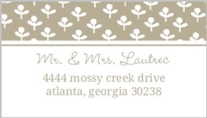 Simple Taupe and Delicate White Flowers Address Label
