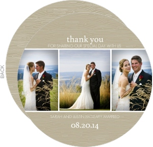 Taupe and White Sophisticated Thank You Card