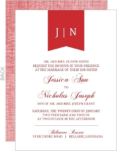 Red Modern Banner Wedding Invitation