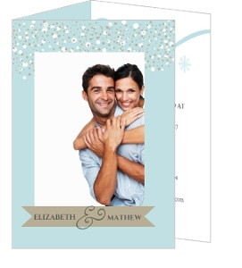 Blue and Taupe Snow Winter Wedding Invitation