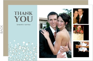 Blue and Taupe Snow Winter Wedding Thank You Card