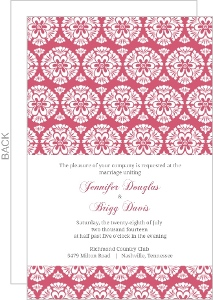 Papaya and White Floral Pattern Wedding Invitation
