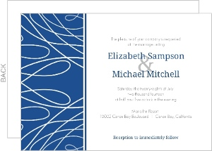 White Scattered Lines and Blue Wedding Invitation