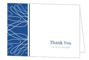 White Scattered Lines and Blue Thank You Card