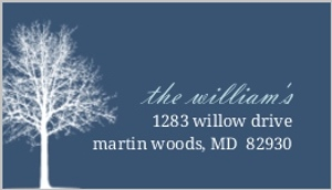 Navy Blue Winter Tree Address Label