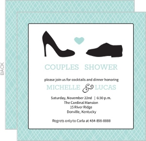 Square Shoes Couples Shower Invitation