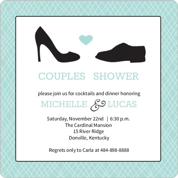 Square shoes couples shower invitation for Wedding couples shower invitations