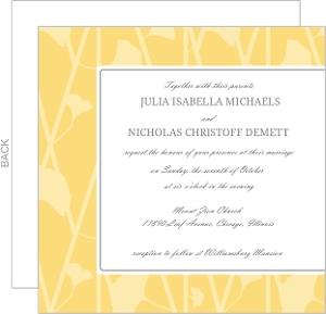 Yellow Flower Pattern Wedding Invitation