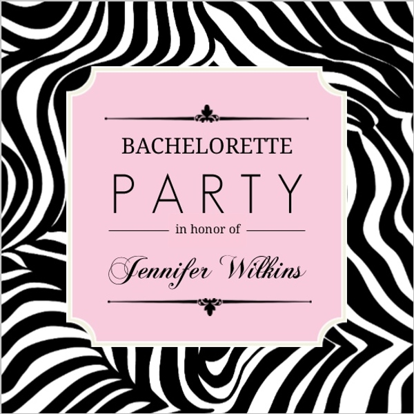 zebra print pink frame bachelorette party invitation | parties and, Birthday invitations