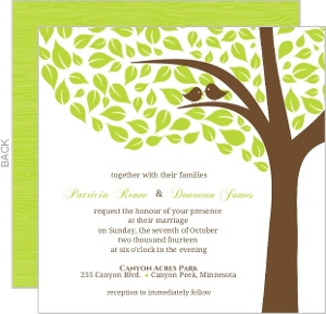 Brown Green Love Birds Wedding Invite