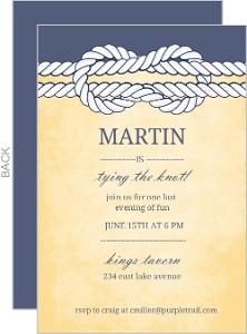 Navy Blue Knot Bachelor Party Invitation
