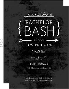 Chalk Board Black Bachelor Party Invitation