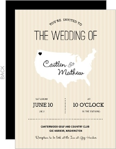 Cream and Black United States Map Wedding Invitation