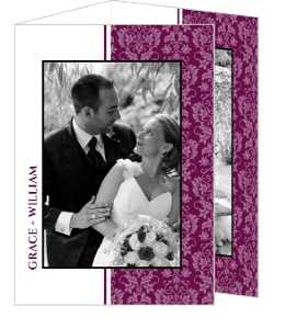 Sangria and Black Elegant Damask Thank You Card