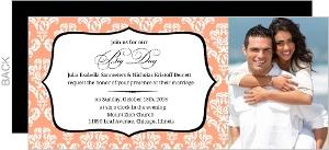 Damask Frame Photo Wedding Invitation