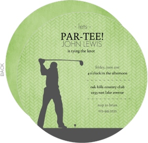Green and Grey Golf Bachelor Party Invitation