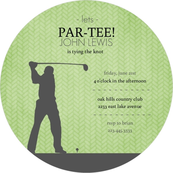 green and grey golf bachelor party invitation parties and showers. Black Bedroom Furniture Sets. Home Design Ideas