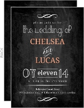 Peach Chalkboard Wedding Invite