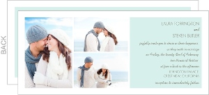 Soft Blue and Brown Photo Wedding Invite