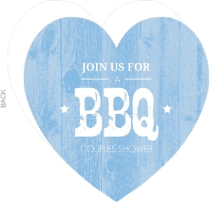 Blue Wood Texture Couples Shower Barbecue Invitation