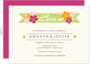 Hawaiian Flowers Couples Shower Luau Invitation