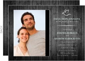 Christian Dove Wooden Wedding Invitation