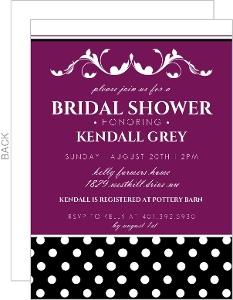 Purple and Black Formal Bridal Shower Invitation
