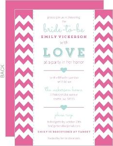 Aqua and Pink Chevron Bridal Shower Invite