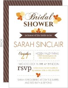 Modern Fall Leaves Bridal Shower Invite