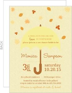 Falling Leaves Umbrella Bridal Shower Invite